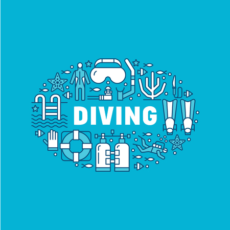 Scuba diving, snorkeling banner illustration. Water sport vector flat line icons, summer activity. Spearfishing equipment brochure, poster design. Isolated on blue background.
