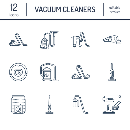 Vacuum cleaners flat line icons. Different vacuums types - industrial, household, handheld, robotic, canister, wet dry. Thin linear signs for housework equipment shop. Vettoriali