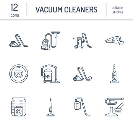 Aspirateurs icônes de ligne plate. Différents types d'aspirateurs - industriels, ménagers, portatifs, robotiques, à cartouche, à séchage humide. Signes linéaires minces pour l'atelier d'équipement de ménage.