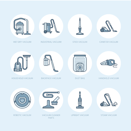 Vacuum cleaners flat line icons. Different vacuums types - industrial, household, handheld, robotic, canister, wet dry. Thin linear colored blue signs for housework equipment shop.