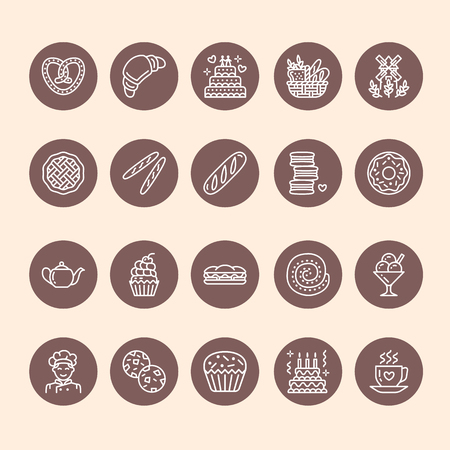 ice tea: Bakery, confectionery line icons. Sweet shop products cake, croissant, muffin, pastry cupcake, pie Food thin linear signs.