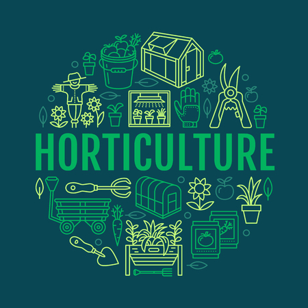 patio set: Gardening, planting horticulture banner with vector line icon. Garden equipment, organic seeds, green house, pruners watering can, tools. Vegetables, flower cultivation poster with place for text. Illustration