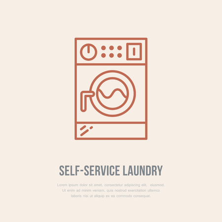 launderette: Washing machine icon, washer line logo. Flat sign for launderette service. Logotype for self-service laundry, clothing cleaning business. Illustration