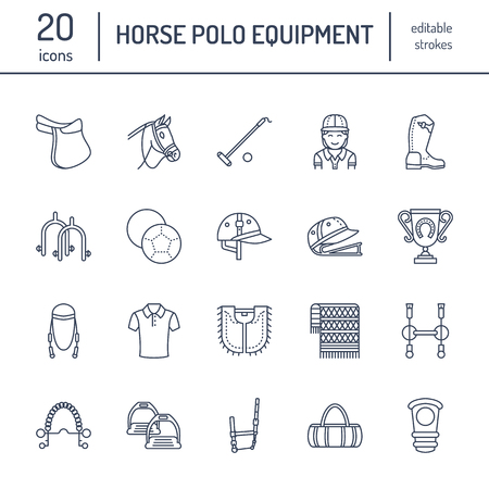 Horse polo flat line icons. Vector illustration of horses sport game, equestrian equipment.