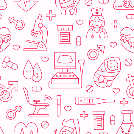 Medical seamless pattern, gynecology vector background pink color. Obstetrics, pregnancy line icons - baby ultrasound, gynecological chair, in vitro fertilization. Cute repeated illustration hospital. Illustration