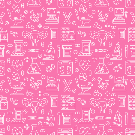 Medical seamless pattern, gynecology vector background pink color. Obstetrics, pregnancy line icons - ultrasound, gynecological chair, in vitro fertilization. Cute repeated illustration for hospital.