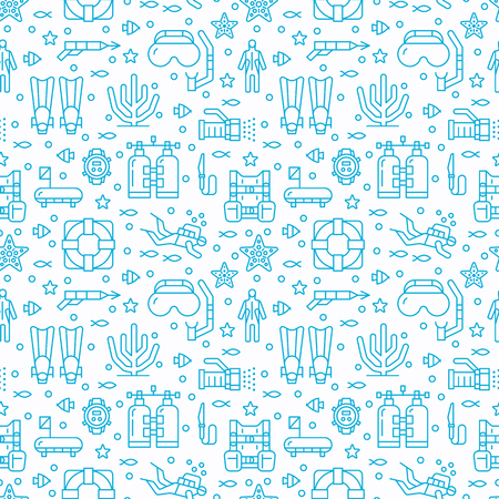 Scuba diving, snorkeling seamless pattern, water sport vector blue background Illustration