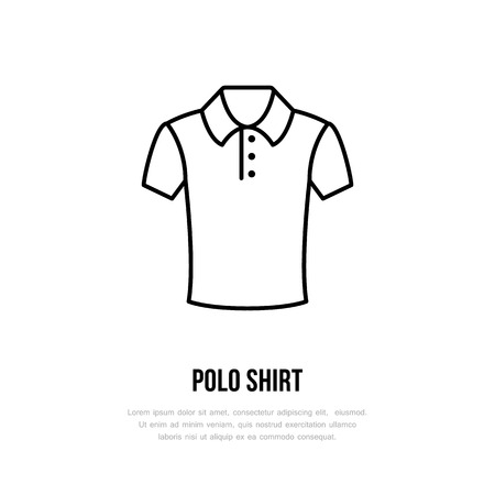 clothing shop: Polo shirt icon, clothing shop line logo. Flat sign for apparel collection. Logotype for laundry, clothes cleaning. Illustration