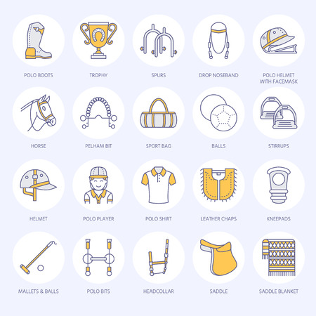 Horse polo flat line icons Vector illustration
