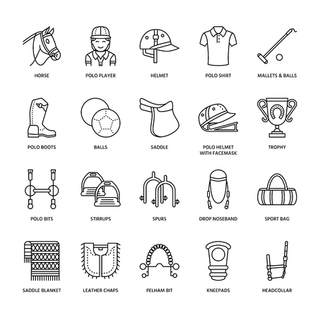 Horse polo flat line icons