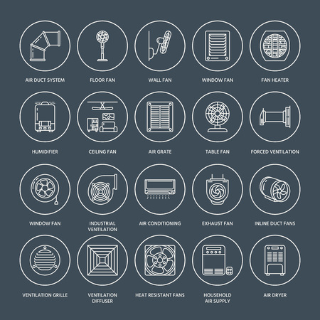 Ventilation equipment line icons. Air conditioning, cooling appliances, exhaust fan. Household and industrial ventilator thin linear signs for store. 向量圖像