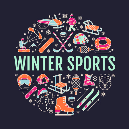 snowshoes: Winter sports banner, equipment rent at ski resort. Vector line icon of skates, hockey sticks, sleds, snowboard, snow tubing hire. Cold season outdoor activities template with place for text. Illustration