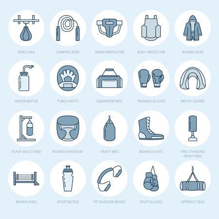 groin: Boxing vector line icons. Punchbag, boxer gloves, ring, heavy bags, punching mitts. Sport training signs set, box championship pictogram with editable stroke for club, equipment store. Illustration