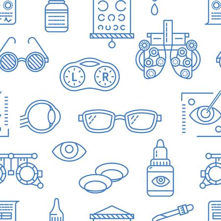 眼科、目の健康管理のシームレスなパターン、医療ベクトル青の背景。検眼機器、コンタクト レンズ、眼鏡、線のアイコンです。視力矯正は、oculist