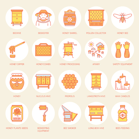 beekeeper: Beekeeping, apiculture line icons. Beekeeper equipment, honey processing, honeybee, beehives types, natural products. Bee-garden thin linear signs for organic farm shop. Orange color.