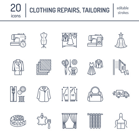 Clothing repair, alterations flat line icons set. Tailor store services - dressmaking, clothes steaming, curtains sewing. Linear signs set, logos for atelier.