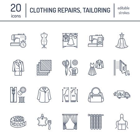Kleding reparatie, wijzigingen platte lijn pictogrammen instellen. Op maat gemaakte winkeldiensten - naaien, kleding stomen, gordijnen naaien. Lineaire tekenset, emblemen voor atelier.