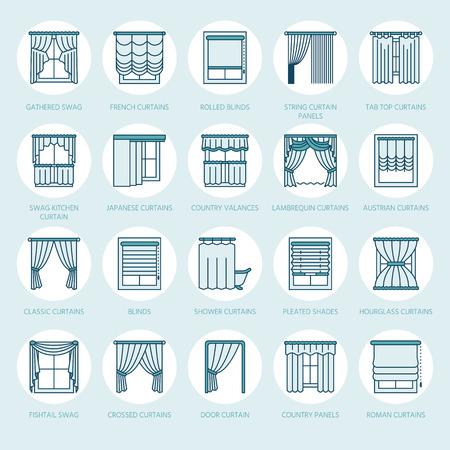 Cortinas de ventana, tonos de línea de iconos. Varios sala de oscurecimiento de la decoración, lambrequin, swag, cortina francesa, persianas y paneles laminados. Diseño interior signos lineales delgados para la tienda de decoración de la casa. Color azul.