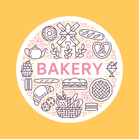 Bakery, bread house poster template. Vector food line icons, illustration of sweets, pretzel croissant, muffin, pastry, cupcake pie, mill. Confectionery products banner with place for text. Illustration