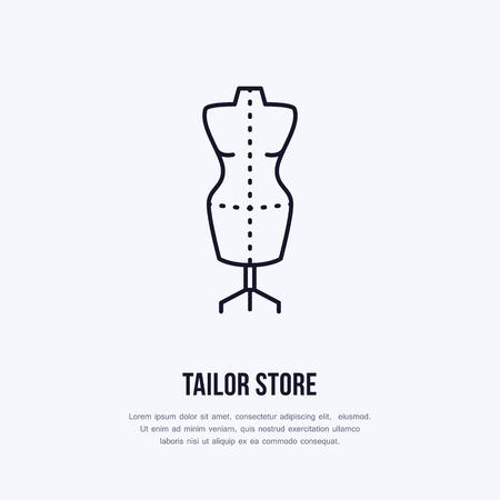 재단사 더미, 마네킹의 그림입니다. 드레스 샵 라인 로고. 아틀리에 벡터 플랫 로그인하십시오입니다.