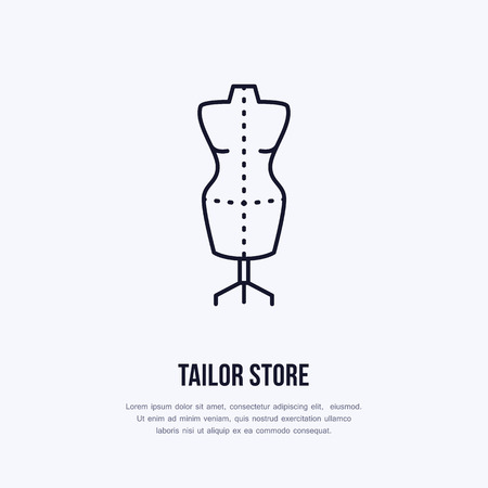 Illustration of tailor dummy, mannequin. Dress shop line logo. Vector flat sign for atelier.