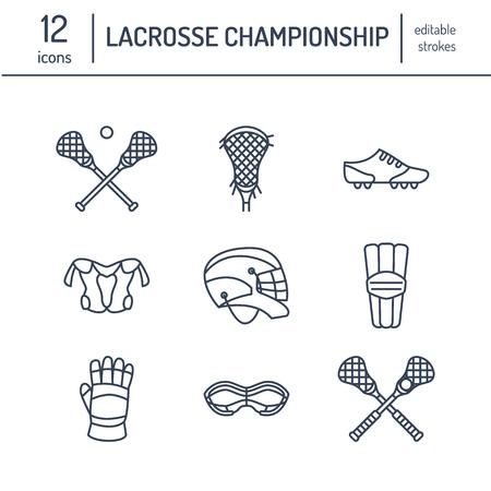 isolate: Lacrosse sport game vector line icons. Ball, stick, helmet, gloves, girls goggles. Illustration
