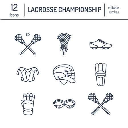 Lacrosse sport game vector line icons. Ball, stick, helmet, gloves, girls goggles. Illustration