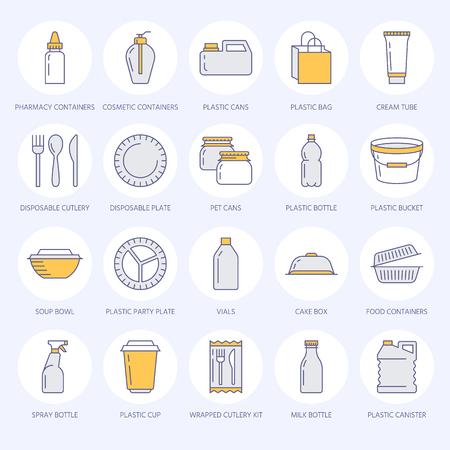 Embalaje de plástico, iconos de línea de vajilla desechable.