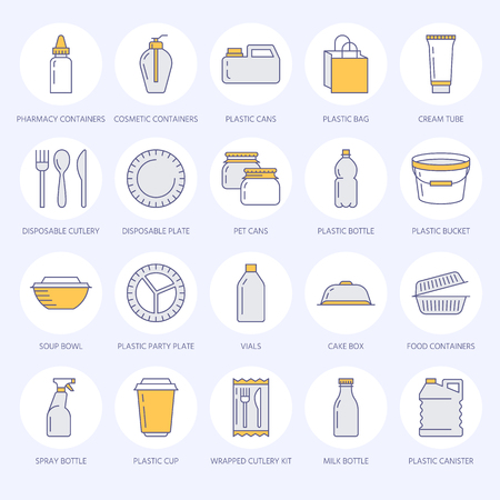 pail: Plastic packaging, disposable tableware line icons.
