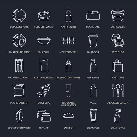 プラスチック包装、使い捨て食器ライン アイコン。製品パック、コンテナー、ボトル、パケット、キャニスター、プレート、カトラリー。コンテナ