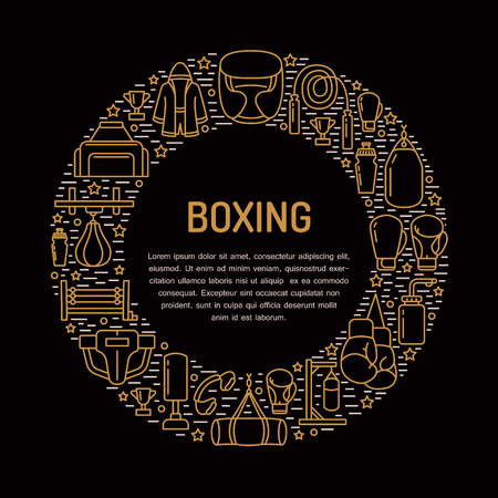 ring stand: Boxing poster template. Vector sport training line icons, circle illustration of equipment - punchbag, boxer gloves, ring, heavy bags. Box club banner with place for text. Illustration