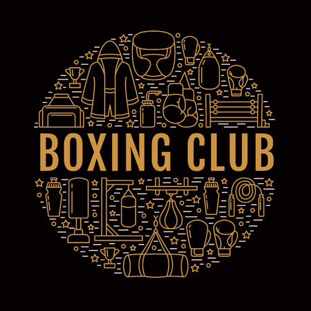 punching: Boxing poster template. Vector sport training line icons, circle illustration of equipment - punchbag, boxer gloves, ring, heavy bags. Box club banner with place for text, dark background.