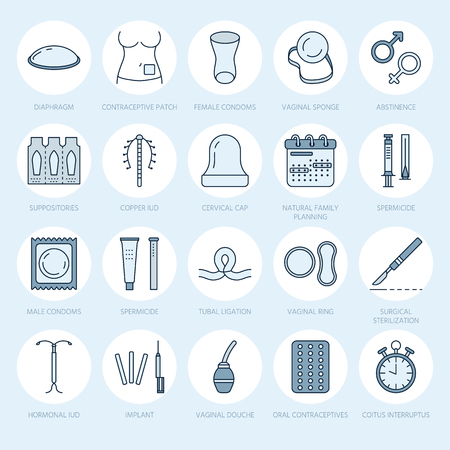 Contraceptive methods line icons. Birth control equipment, condoms, oral contraceptives, iud, barrier contraception, vaginal ring, sterilization. Safe sex thin linear signs for medical clinic.