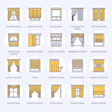 A Window curtains, shades line icons. Various room darkening decoration, lambrequin, swag, french curtain, blinds and rolled panels. Interior design thin linear signs for house decor shop. Blue color.