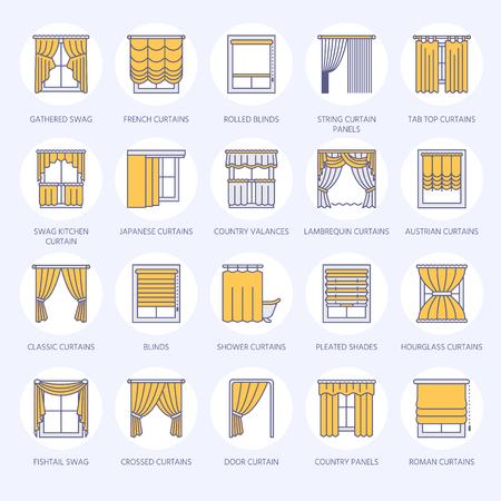 cenefas: A Cortinas de la ventana, los iconos de la línea de tonos. Varios sala de oscurecimiento de la decoración, lambrequin, swag, cortina francesa, persianas y paneles laminados. Diseño interior signos lineales delgados para la tienda de decoración de la casa. Color azul.