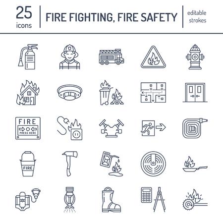 소방, 화재 안전 장비 플랫 라인 아이콘. 소방관, 소방차 소화기, 연기 감지기, 집, 위험 징후, 파이어 호스. 화염 보호 얇은 선형 그림.