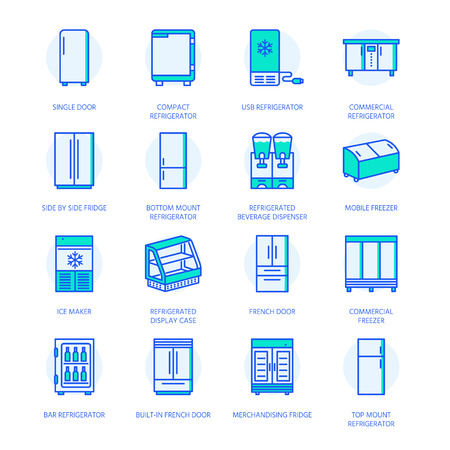 Refrigerators flat line icons. Fridge types, freezer, wine cooler, commercial major appliance, refrigerated display case. Thin linear colored signs for household equipment shop.