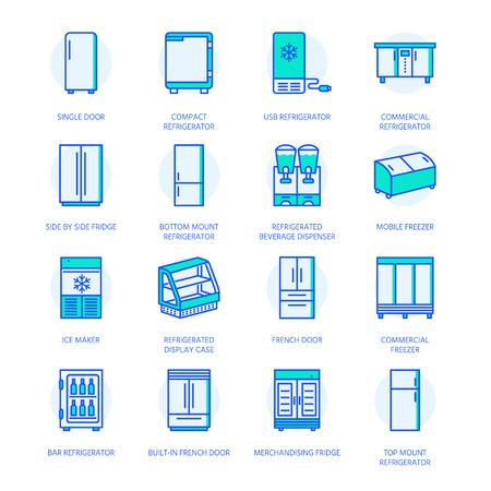 Icone di linea piatta di frigoriferi. Tipi di frigorifero, congelatore, dispositivo di raffreddamento del vino, apparecchio principale commerciale, vetrina refrigerata. Sottili segni colorati lineari per il negozio di attrezzature per la casa.