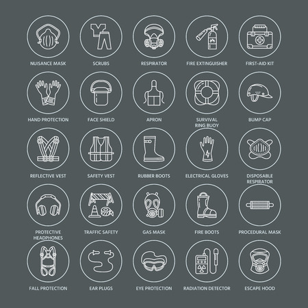 Personal protective equipment line icons. Gas mask, ring buoy, respirator, bump cap, ear plugs and safety work garment. Health protection thin linear signs. Ilustracja