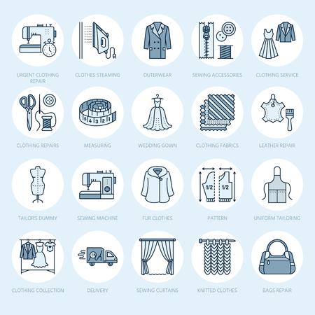 Naprawy odzieży, zmiany zestaw ikon płaskiej linii. Usługi krawieckie - krawiectwo, szycie ubrań, szycie zasłon. Liniowy zestaw kolorowych znaków, logo do atelier.