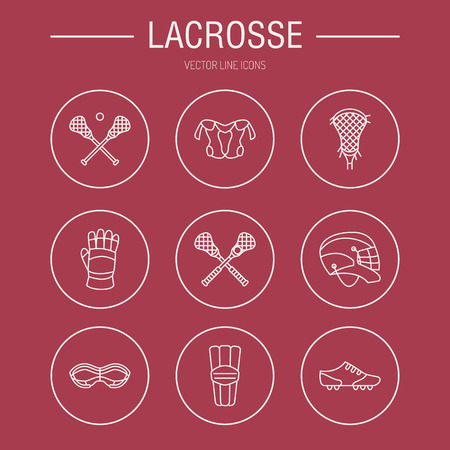 Lacrosse sport game vector line icons. Ball, stick, helmet, gloves, girls goggles. Linear signs set, championship pictograms with editable stroke for event, equipment store. Illustration