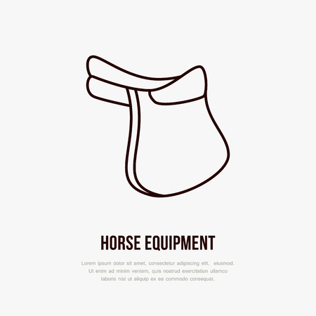 Horse saddle, polo flat line icons. Vector illustration of horses sport game, equestrian equipment. Illustration