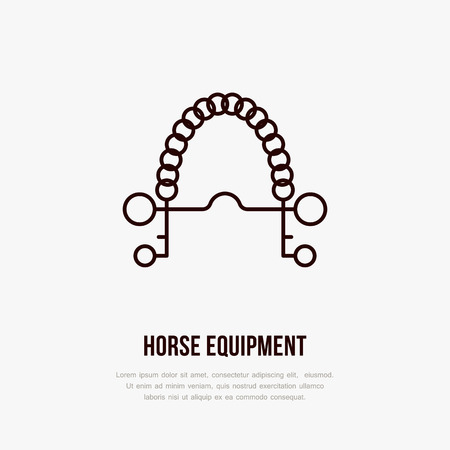 Horse pelham bit, polo flat line icons. Vector illustration of horses sport game, equestrian equipment.