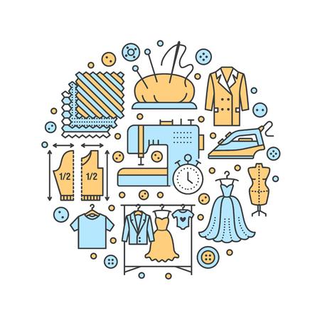 Clothing repair, alterations studio equipment banner illustration. Vectores
