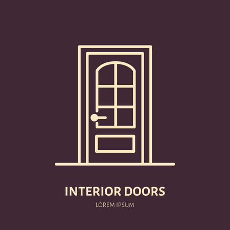 to mend: Doors installation logo, repair flat line icon. Interior design thin linear sign for house decor shop, handyman service.