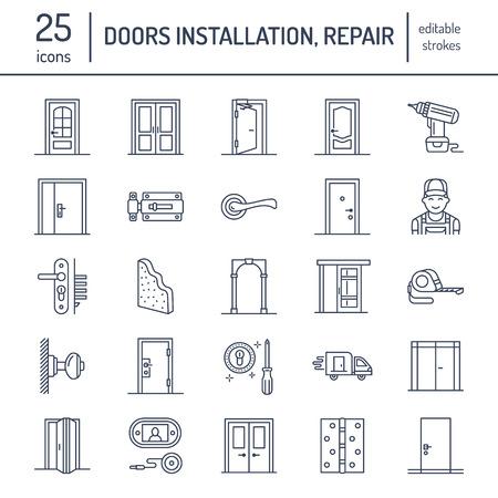 ドア設置修理行アイコン様々 なドアのタイプ、ハンドル、ラッチ、ロック、ヒンジ。インテリア デザイン家のインテリア ショップ、便利屋サービ