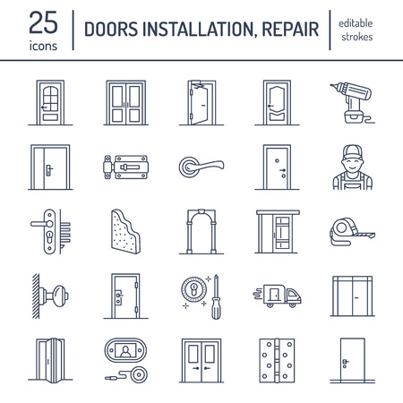 Doors installation, repair line icons. Various door types, handle, latch, lock, hinges. Interior design thin linear signs for house decor shop, handyman service.