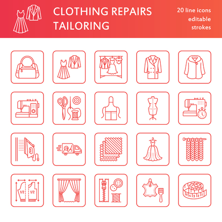 hangers: Clothing repair, alterations flat line icons set. Tailor store services - dressmaking, clothes steaming, curtains sewing. Linear signs set, logos for atelier.