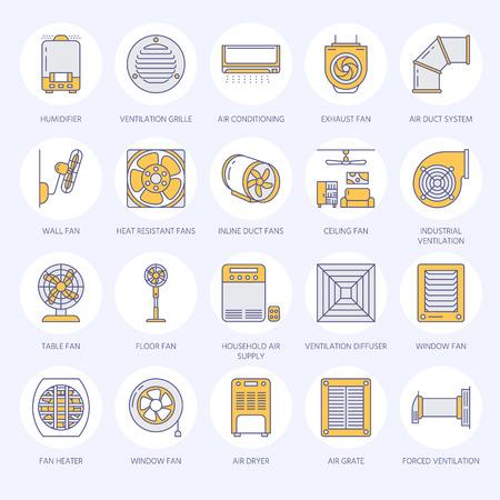 Ventilatieapparatuur vlakke lijn iconen. Airconditioning, koelapparatuur, afzuigventilator. Huishoudelijke en industriële ventilator dunne lineaire borden voor winkel. Stockfoto