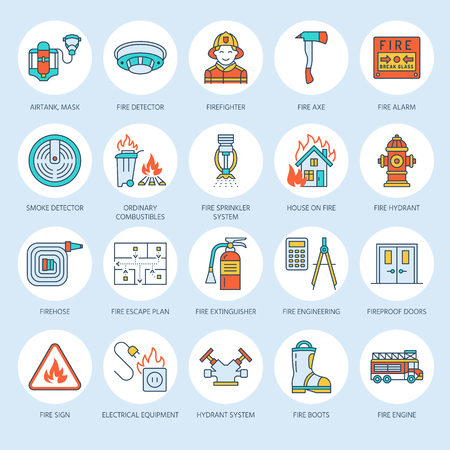 Firefighting, fire safety equipment flat line icons. Firefighter, fire engine extinguisher, smoke detector, house, danger signs, firehose. Flame protection thin linear colored pictogram. Stock Photo